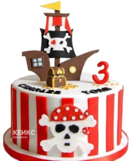 Красно-белый торт Пираты с кораблем и черепом