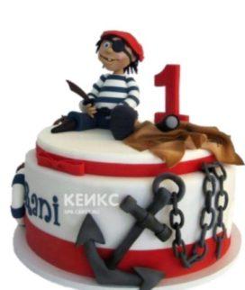 Красно-белый торт пираты с якорем