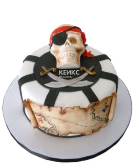 Торт пираты с черепом и картой
