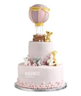 Торт воздушный шар с корзиной и зверушками