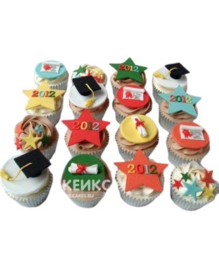 Капкейки на выпускной в школу с разноцветными звездами