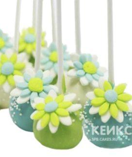 Капкейки кейк попсы с зелеными и голубыми цветами