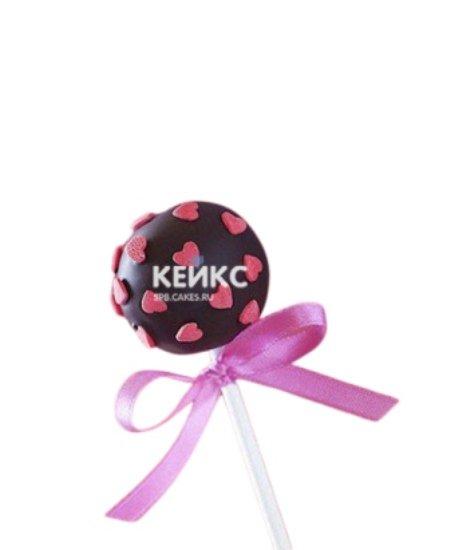 Капкейки кейк попсы с розовыми сердечками