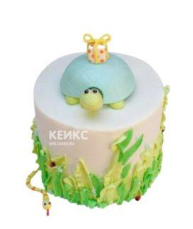 Детский торт голубая Черепашка с подарком