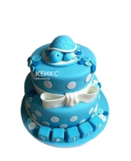 Детский синий торт с Черепашкой и белым бантом