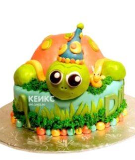 Детский торт рыжая Черепашка в колпаке