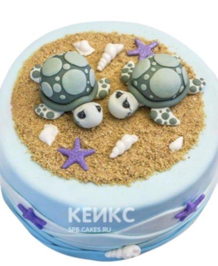 Детский торт Черепашки на пляже
