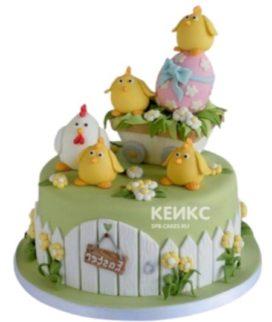 Торт с курицей и цыплятами