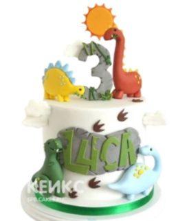 Торт из мастики с фигурками динозавров
