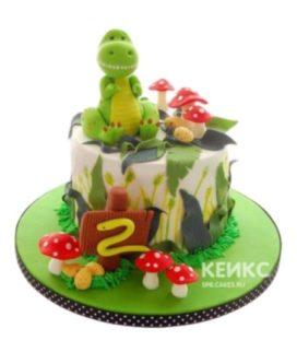 Детский торт с фигуркой зеленого динозавра