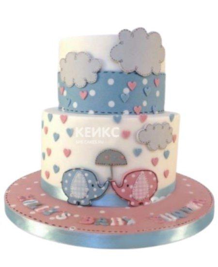 Торт для разнополых двойняшек со слониками