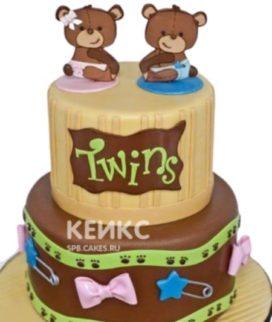 Торт для разнополых двойняшек с мишками