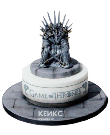 Торт Игра престолов в серых тонах с железным троном