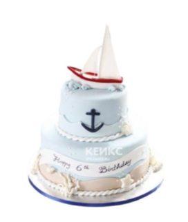 Нежно-голубой торт Кораблик с ракушками