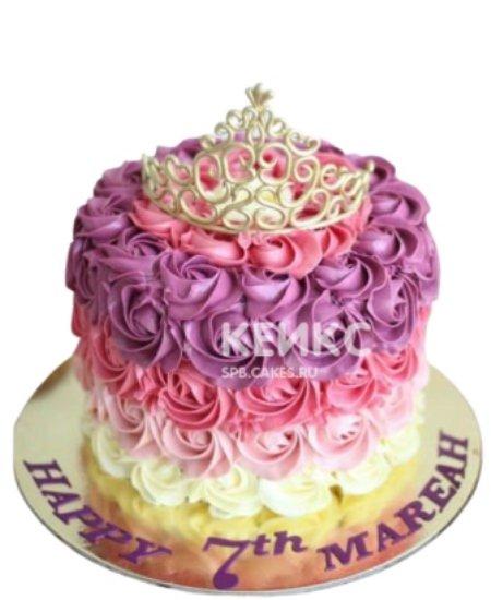 Детский разноцветный торт с короной
