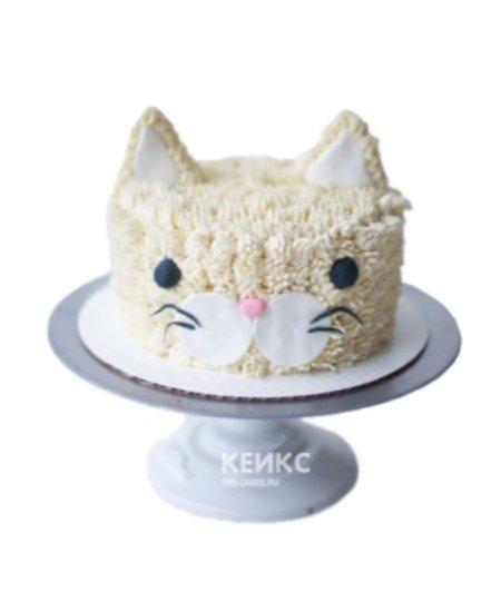 Детский торт в виде мордочки пушистого котенка