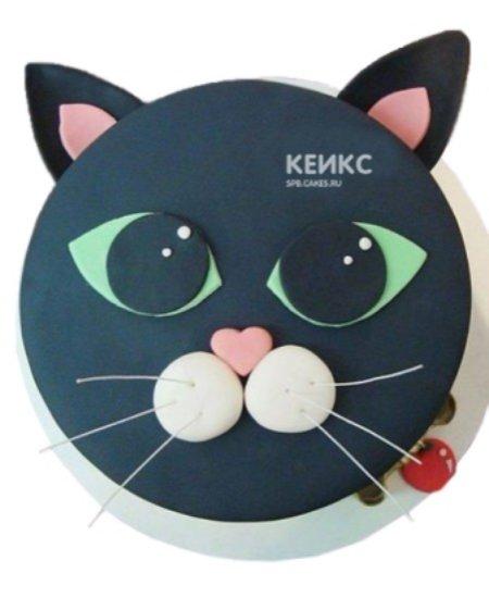 Детский торт в виде мордочки черного котенка