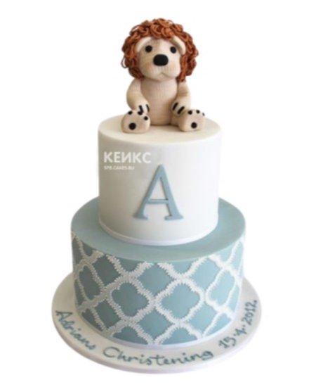 Стильный детский торт с фигуркой льва