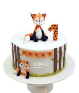 Торт с фигуркой лисы и надписью