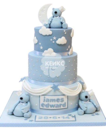 Торт голубого цвета с медведями и облаками