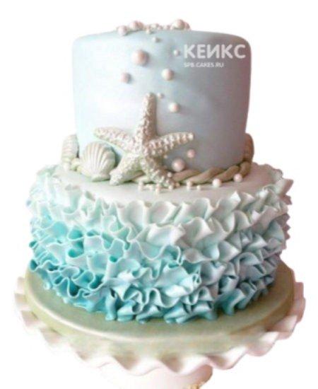 Торт в морском стиле со звездой и ракушками