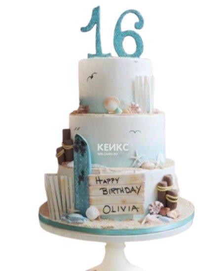 Трехъярусный торт в морском стиле с табличкой и цифрой