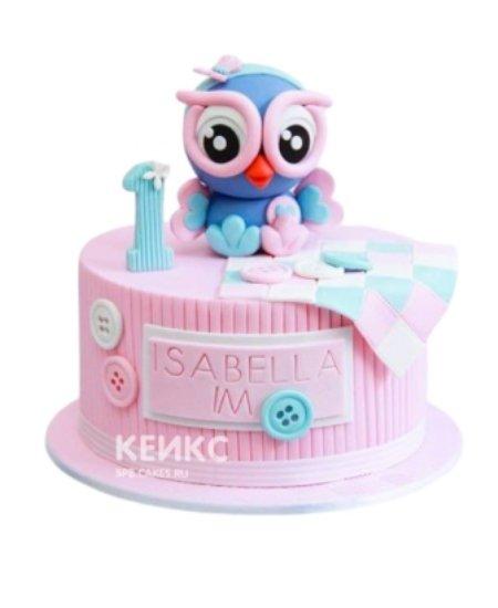 Розовый торт с совенком на 1 годик девочке