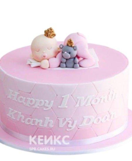 Торт на 1 годик мальчику с младенцем и мишкой