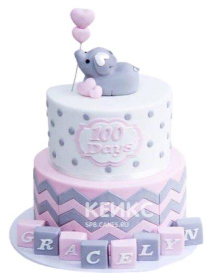 Розовый торт на 1 годик со слоненком и зигзагами