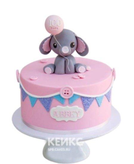 Розовый торт со слоником на 1 годик мальчику