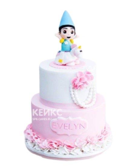 Розово-белый торт с фигуркой на 1 годик девочке