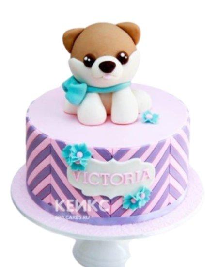 Розово-фиолетовый торт со щенком на 1 годик