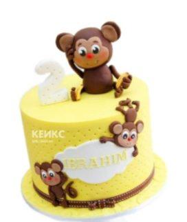 Желтый торт с обезьянками на 1 годик мальчику