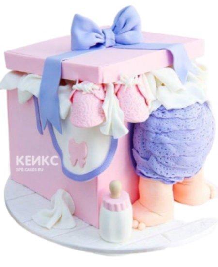 Торт в виде розовой коробки на 1 годик мальчику