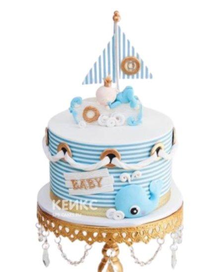 Торт в виде кораблика на 1 годик девочке