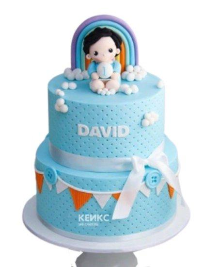 Голубой торт с радугой на 1 годик девочке