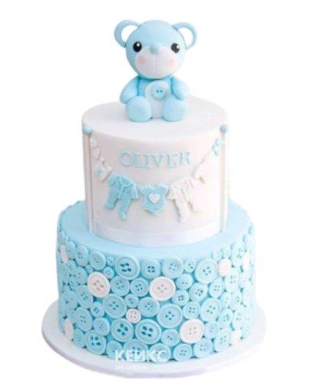 Торт с пуговками и медвежонком на 1 годик девочке