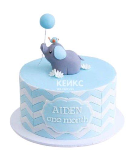 Торт со слоником и шариком на 1 годик девочке