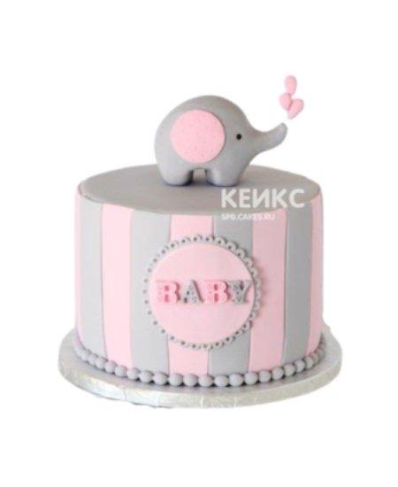 Торт со слоником на 1 годик девочке