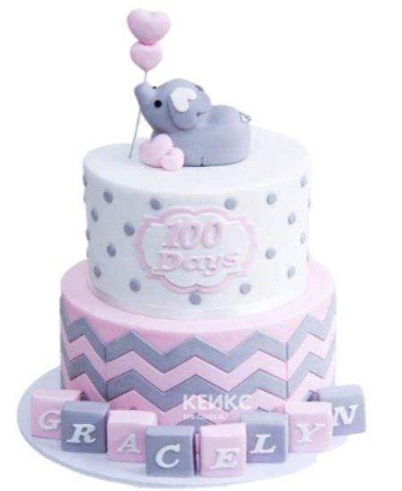 Торт на 1 годик со слоником и кубиками