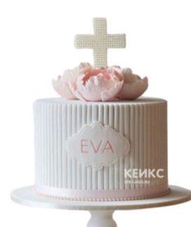 Мятно-розовый торт на крещение с табличкой и цветами