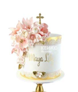 Торт с крестом и розовыми цветами на крестины девочки