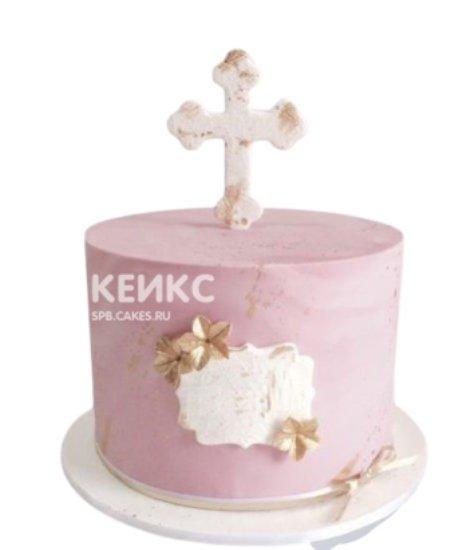 Розовый торт на крещение девочки с табличкой