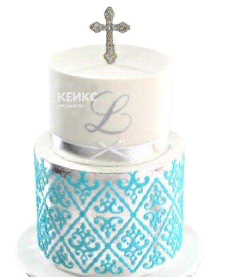 Двухъярусный торт с крестом на крестины девочки