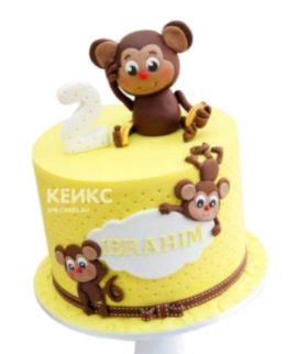 Желтый торт с обезьянками и бантиком