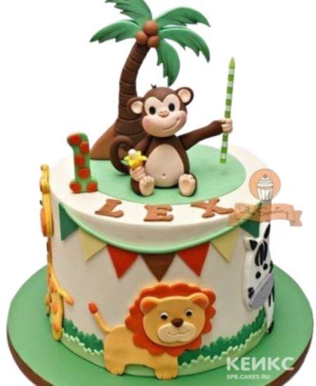 Торт с обезьянкой и зверями