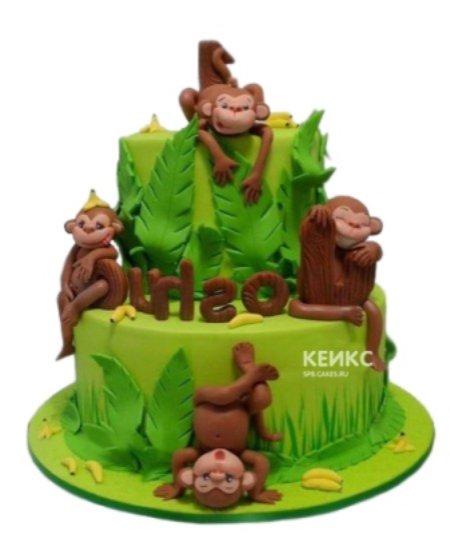 Торт зеленого цвета с обезьянками