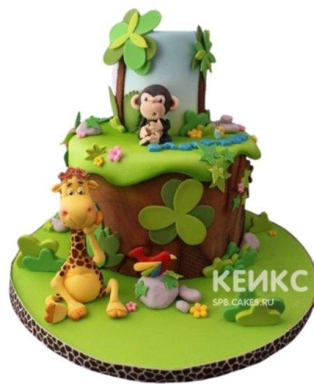 Торт с обезьянкой и жирафом