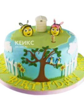 Детский торт Пчелки на лужайке