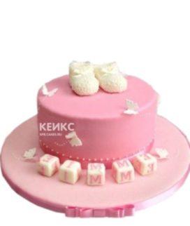 Яркий розовый детский торт Пинетки